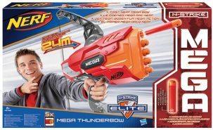 """Der Nerf Bogen """"Thunderbow"""" mit Mega-Darts in rot, organge und grau."""