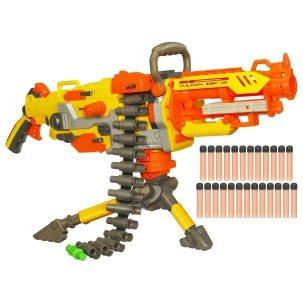 Das Nerf Maschinengewehr Vulcan gehört zu den bekanntesten Blastern und kommt in gelb sowie orange daher.