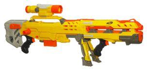 Das beliebteste Nerf Scharfschützengewehr ist die Longshot in gelb und orange.