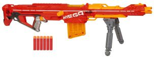 Nerf Sniper und eine der besten Blaster überhaupt ist die Mega Centurion in orange und rot.