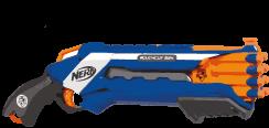Eine Waffe im Shotgun- bzw. Schrotflinten-Design in blau und orange.
