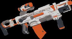 Ein vollautomatisches Gewehr in grau und orange stellvertretend für diese Waffengattung.