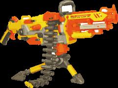 Ein großes Maschinengewehr in gelb und orange.