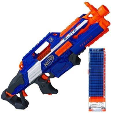 Vollautomatischer Blaster Rapidstrike in blau, orange und grau.