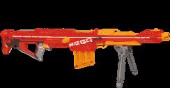 Eine riesen Waffe von Nerf in orange und rot, stellvertretend für alle Sniper.