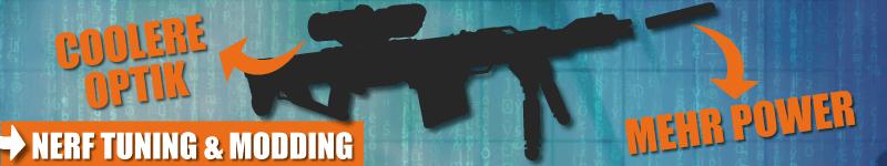 Waffen, z. B. Sniper, verbessern durch Tuning und Modding.