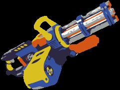 Eine Minigun in blau, gelb und orange. Wird es so etwas von Hasbro jemals geben?