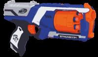 Unter den coolen Waffen gibt es auch Pistolen, dieser Blaster ist blau und orange.