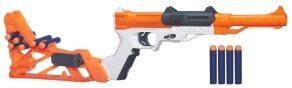 Sharpfire mit Darts in der Schulterstütze kann von Pistole zum Gewehr umfunktioniert werden.