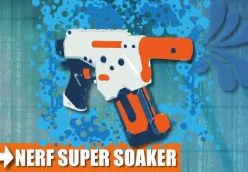 Super Soaker und Wasserpistolen.